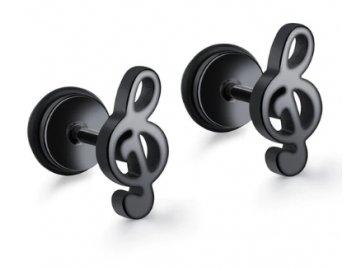 Náušnice pecky - houslový klíč, šroubovací