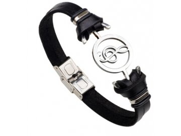 náramek houslový klíč, kožený náramek, černý