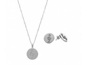 Bižuterní sada náhrdelník a náušnice třpytivý HOUSLOVÝ KLÍČ, stříbrná