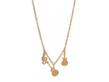 Bižuterní sada náhrdelník HOUSLOVÝ KLÍČ a KYTARY a náušnice HOUSLOVÉ KLÍČE s kamínkem, zlatá