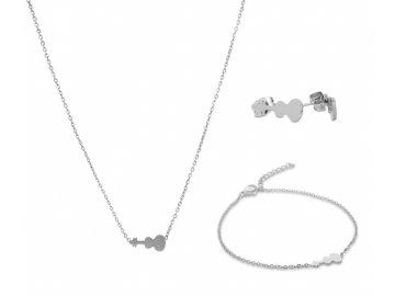 Bižuterní sada náhrdelník, náramek a náušnice HOUSLE, stříbrná