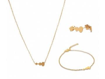 Bižuterní sada náhrdelník, náramek a náušnice HOUSLE, zlatá