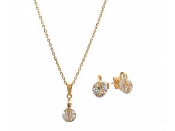 Bižuterní sada náhrdelník a náušnice HOUSLOVÝ KLÍČ s kamínkem, zlatá