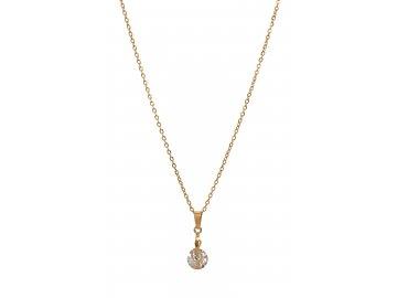 Bižuterní sada náhrdelník HOUSLOVÝ KLÍČ s kamínkem, zlatá