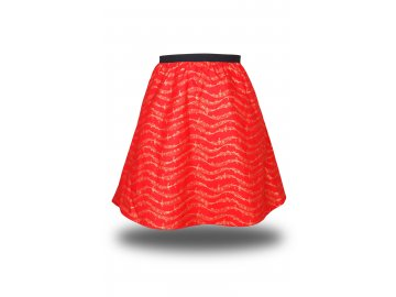 Dívčí bavlněná červená sukně se zlatou partiturou