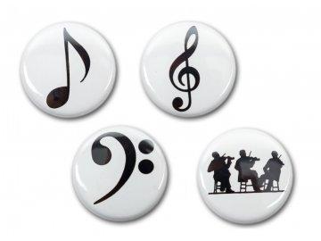 Magnetky nota, houslový klíč, basový klíč, orchestr