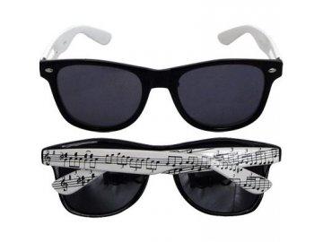 Sluneční brýle černé s bílými nožičkami s notami