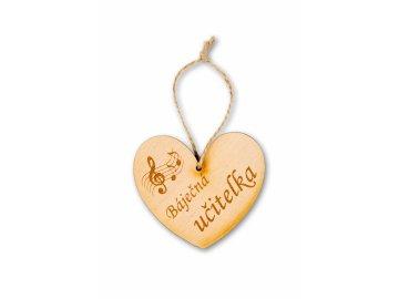Dřevěné srdce s partiturou Báječná učitelka (1)