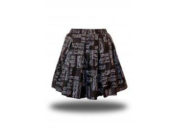 Černá bavlněná sukně s bílou partiturou, skryté kapsy