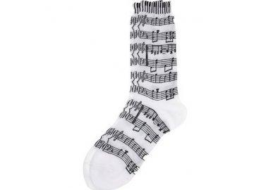 Ponožky s notami dámské - bílé