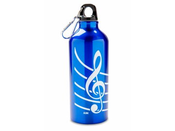 Aluminiová lahev s houslovým klíčem modrá (1)
