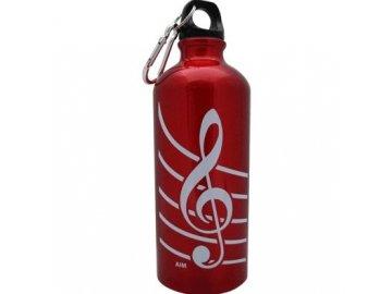 Aluminiová lahev s houslovým klíčem červená