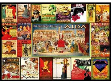 puzzle koláž opernich plakatu 3000 dilku