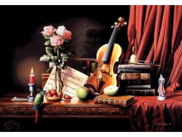Puzzle zátiší housle