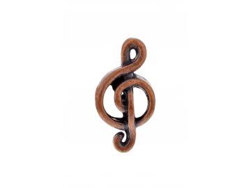 Přívěsek na náramek houslový klíč, hnědý