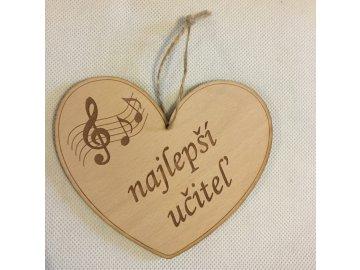 Dřevěné srdce s partiturou Najlepší učiteľ