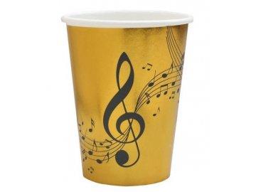 Papírový kelímek music 10 ks, zlaté