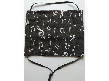 Bavlněná rouška hudební motivy černá