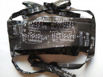 Bavlněná rouška s partiturou černá (3)