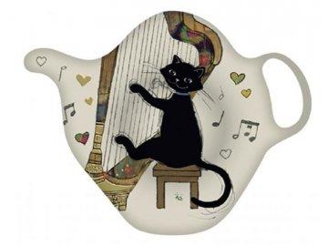 Talířek na čajové sáčky kočka harfistka