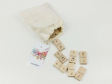 Dřevěné domino NOTY - v plátěném pytlíku
