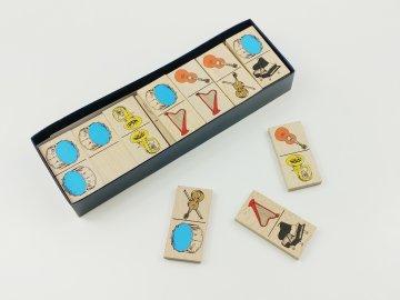 Dřevěné domino HUDEBNÍ NÁSTROJE - v papírové krabičce
