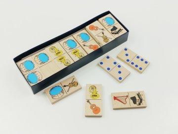 Dřevěné domino HUDEBNÍ NÁSTROJE - v papírové krabičce OBOUSTRANNÉ