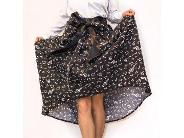 Elegantní bavlněná sukně s hudebními motivy - černá