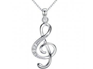 náhrdelník houslový klíč s kamínky