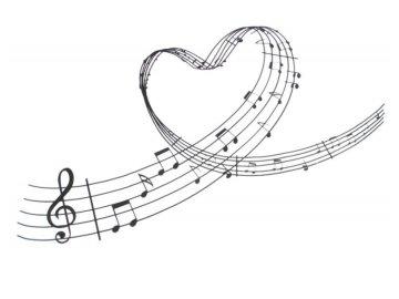 Samolepka na zeď partitura srdce