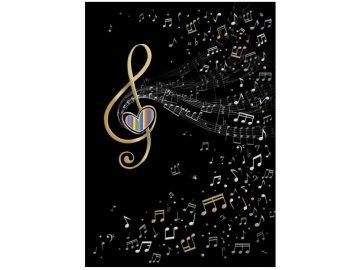přání do obálky houslový klíč a noty