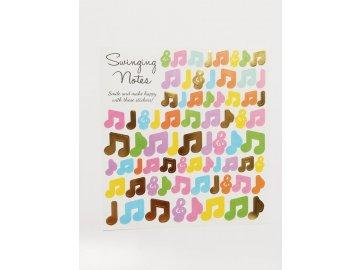 Samolepky barevné noty a houslové klíče