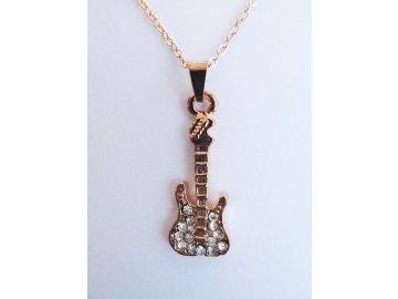 Náhrdelník elektrická kytara - růžové zlato