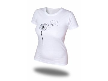 Tričko s pampeliškou a notami, bílé