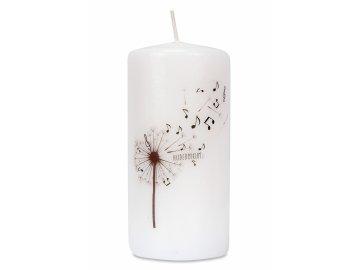 Svíčka s pampeliškou a notami