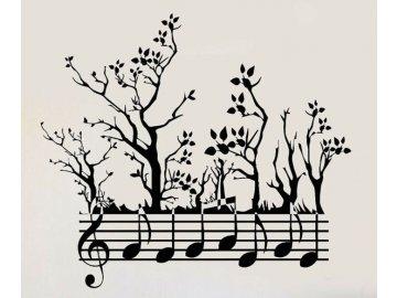 samolepka na zed music trees