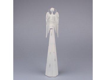 Anděl s trubkou - bílý 39 cm