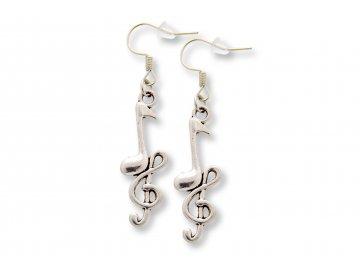 Náušnice houslový klíč s notou