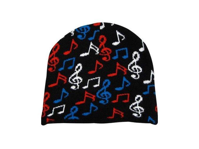 Čepice s barevnými notami - černá