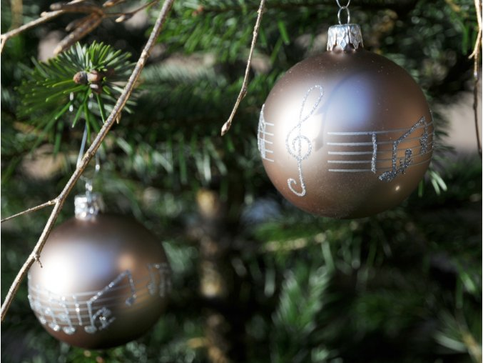 Vánoční skleněné ozdoby s partiturou, sada 2 ks, tmavé béžové