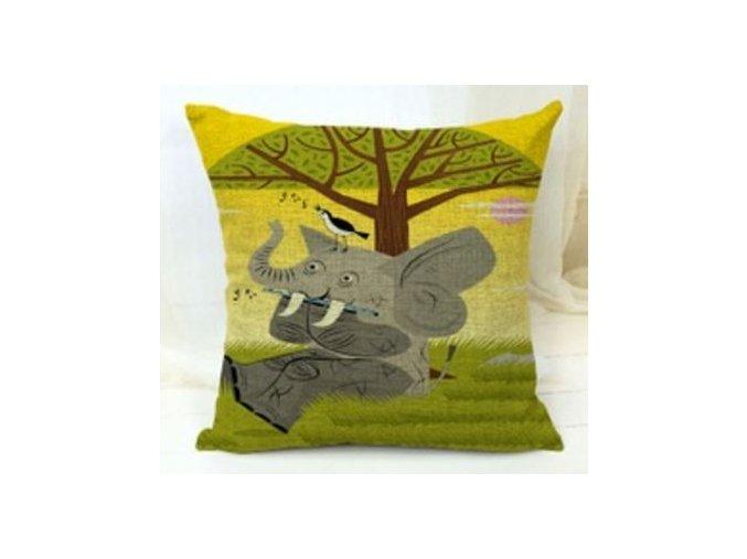 Povlak na polštářek slon s příčnou flétnou