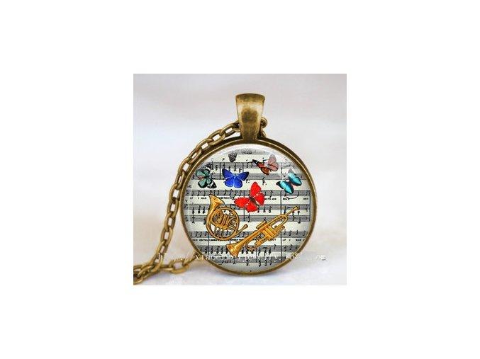Vintage náhrdelník s partiturou, trubkou a lesním rohem