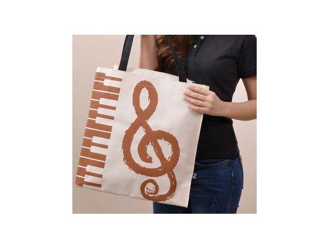 Béžová taška s houslovým klíčem a klaviaturou