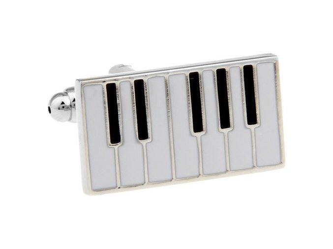 Manžetové knoflíčky - klaviatura stříbro