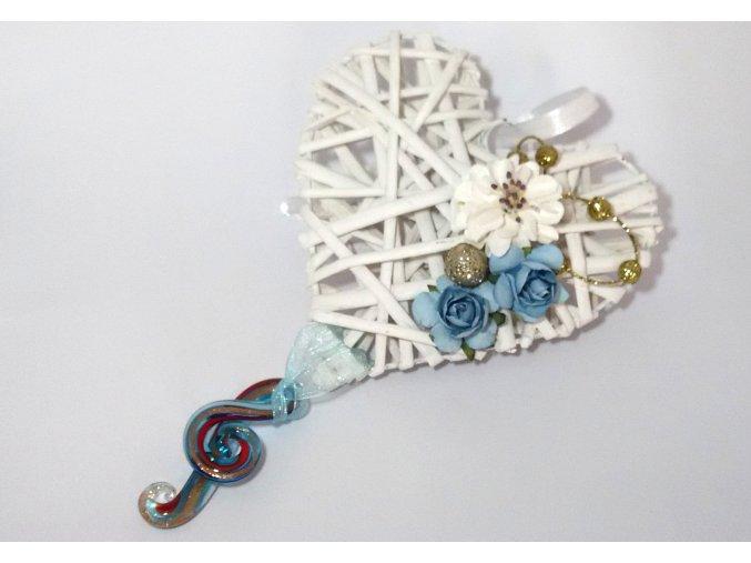 Závěsná dekorace s houslovými klíči - srdce