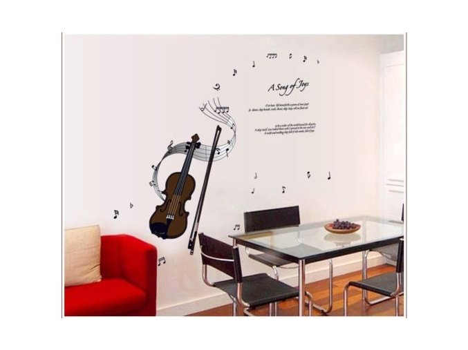 samolepka na zeď housle, noty