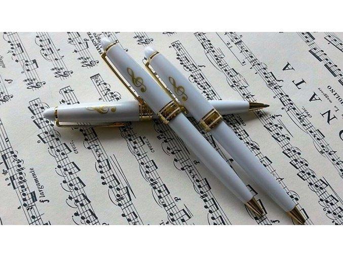 Kuličkové pero s houslovým klíčem bílé