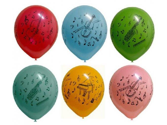 Barevné nafukovací balónky NOTY a HUDEBNÍ NÁSTROJE, 10 kusů