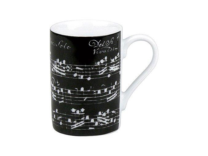 Hrnek s partiturou Vivaldi - dvojité espresso černý