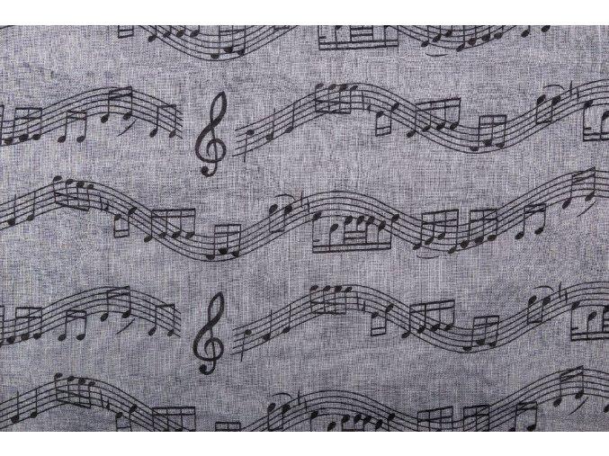 Šál s partiturou šedý